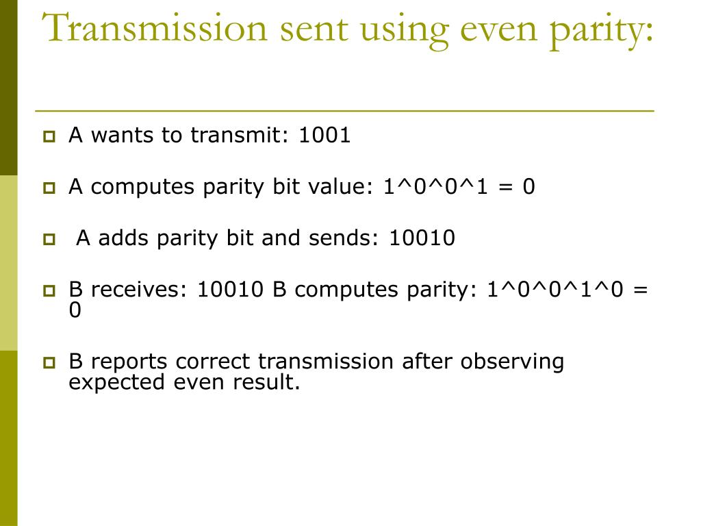 Transmission sent using even parity: