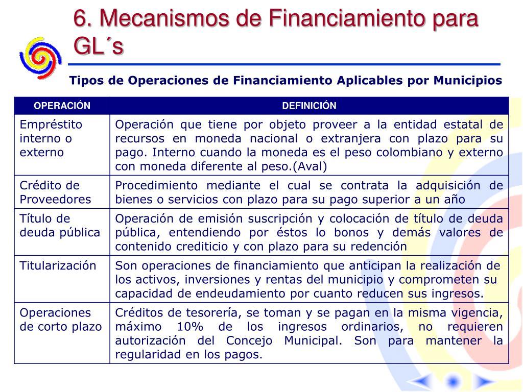6. Mecanismos de Financiamiento para GL´s