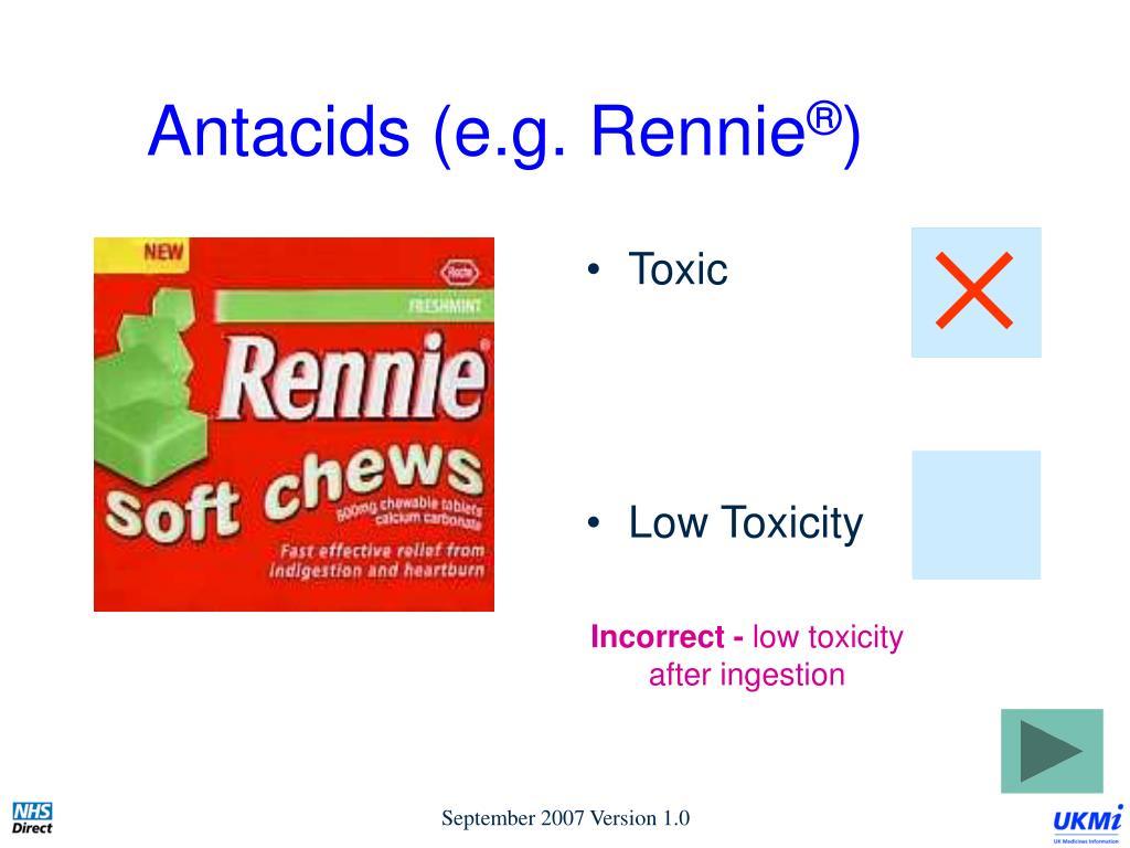 Antacids (e.g. Rennie