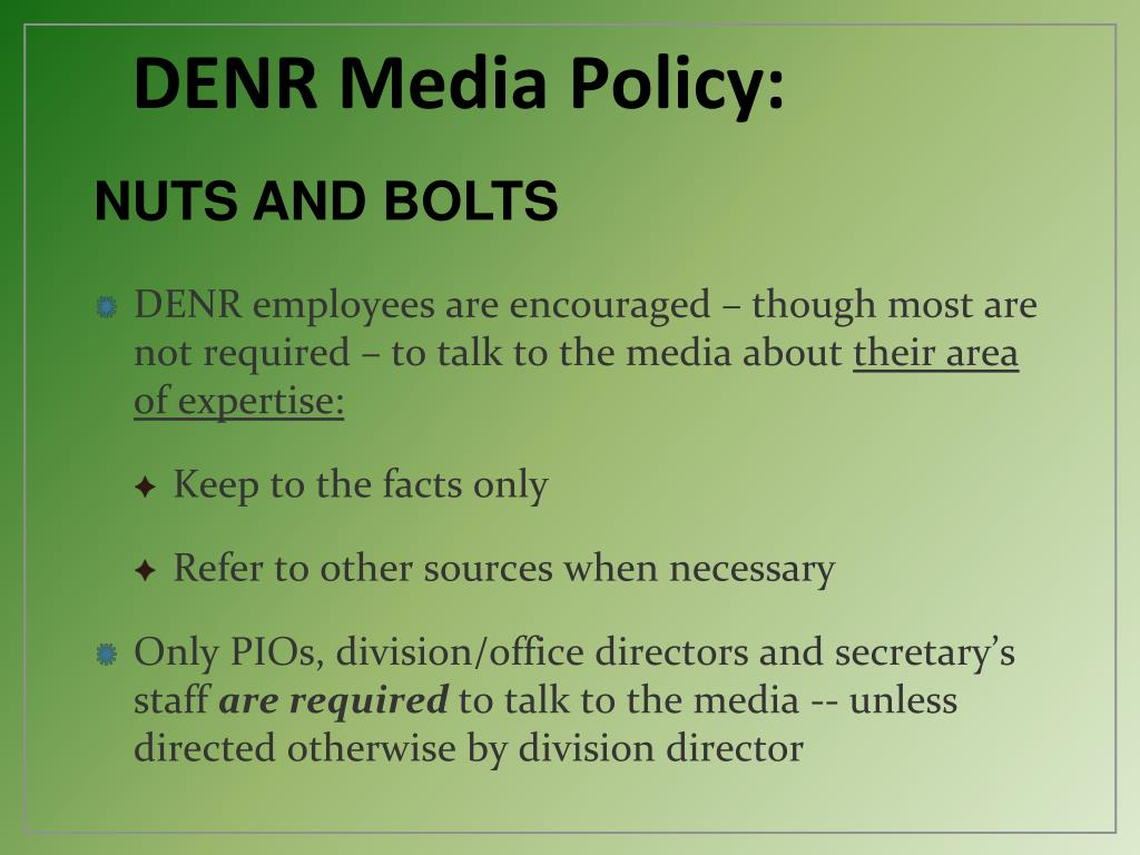 DENR Media Policy: