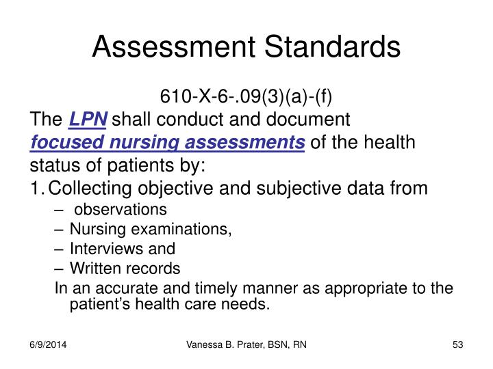 Assessment Standards