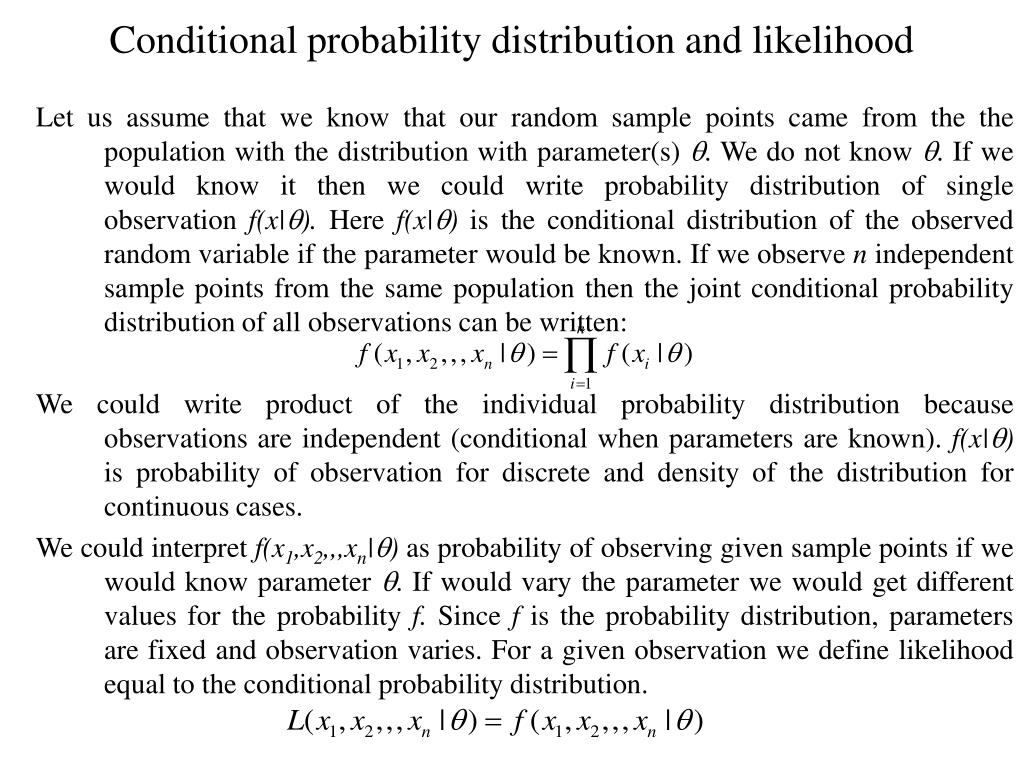 Conditional probability distribution and likelihood