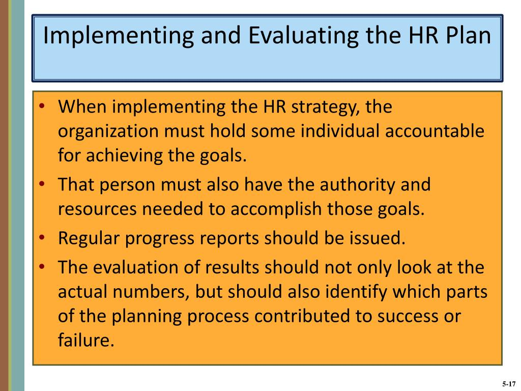 Implementing and Evaluating the HR Plan