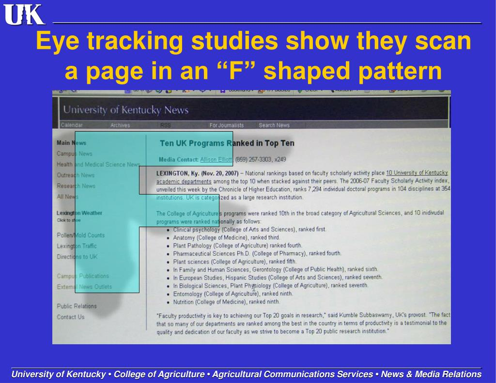 """Eye tracking studies show they scan a page in an """"F"""" shaped pattern"""