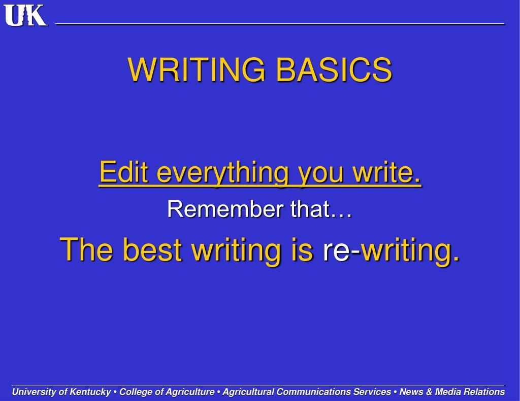 WRITING BASICS