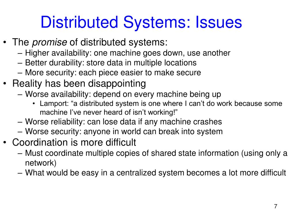Distributed Systems: Issues