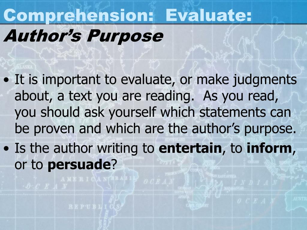 Comprehension:  Evaluate: