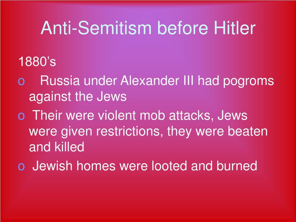 Anti-Semitism before Hitler