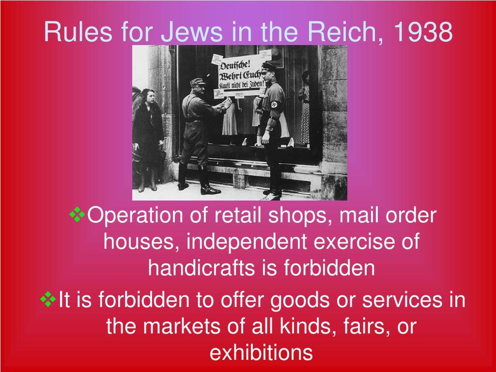 Rules for Jews in the Reich, 1938