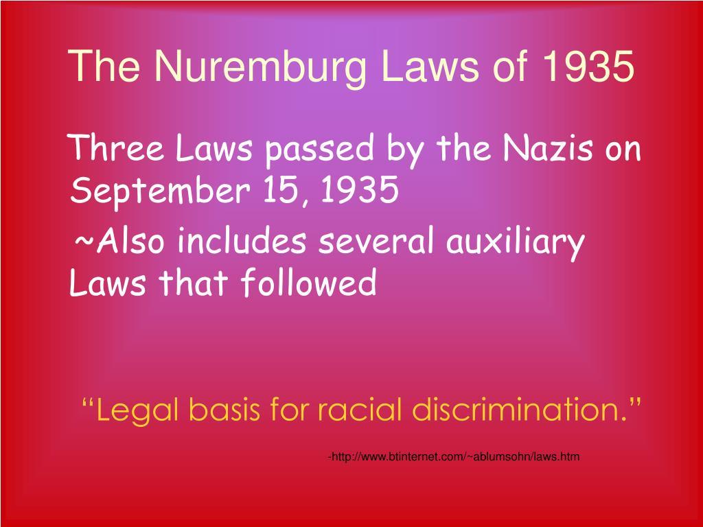 The Nuremburg Laws of 1935