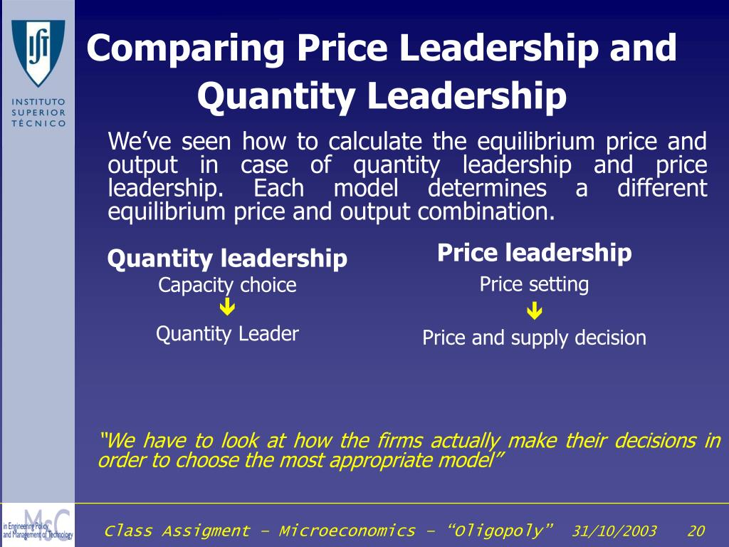 Comparing Price Leadership and Quantity Leadership