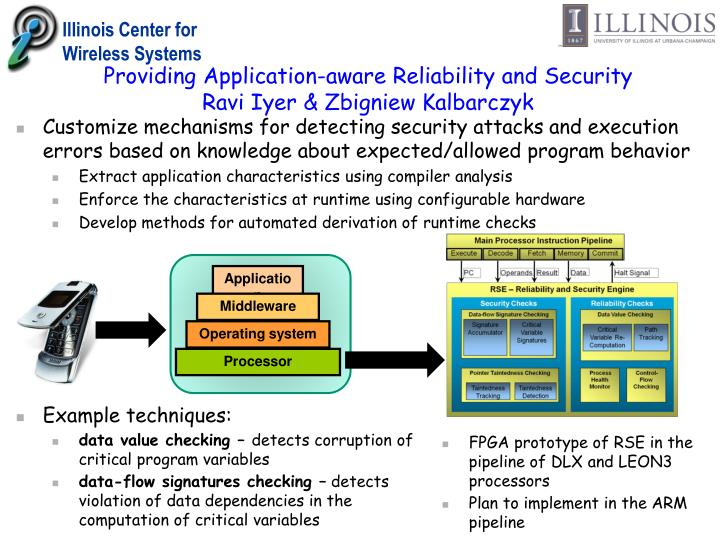 Providing application aware reliability and security ravi iyer zbigniew kalbarczyk