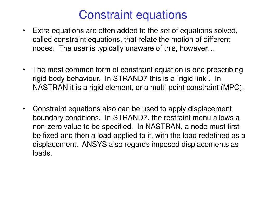 Constraint equations