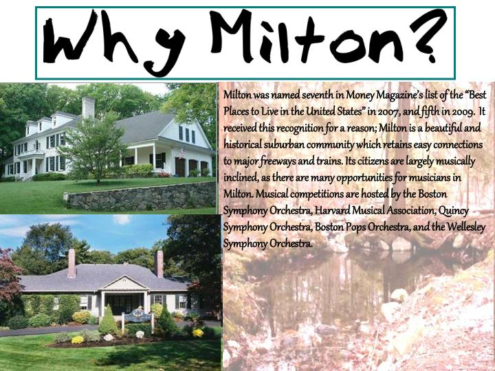 """Milton was named seventh in Money Magazine's list of the """"Best Places to Live in the United States"""" in 2007, and fifth in 2009."""