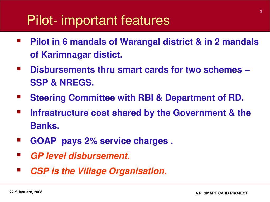 Pilot- important features