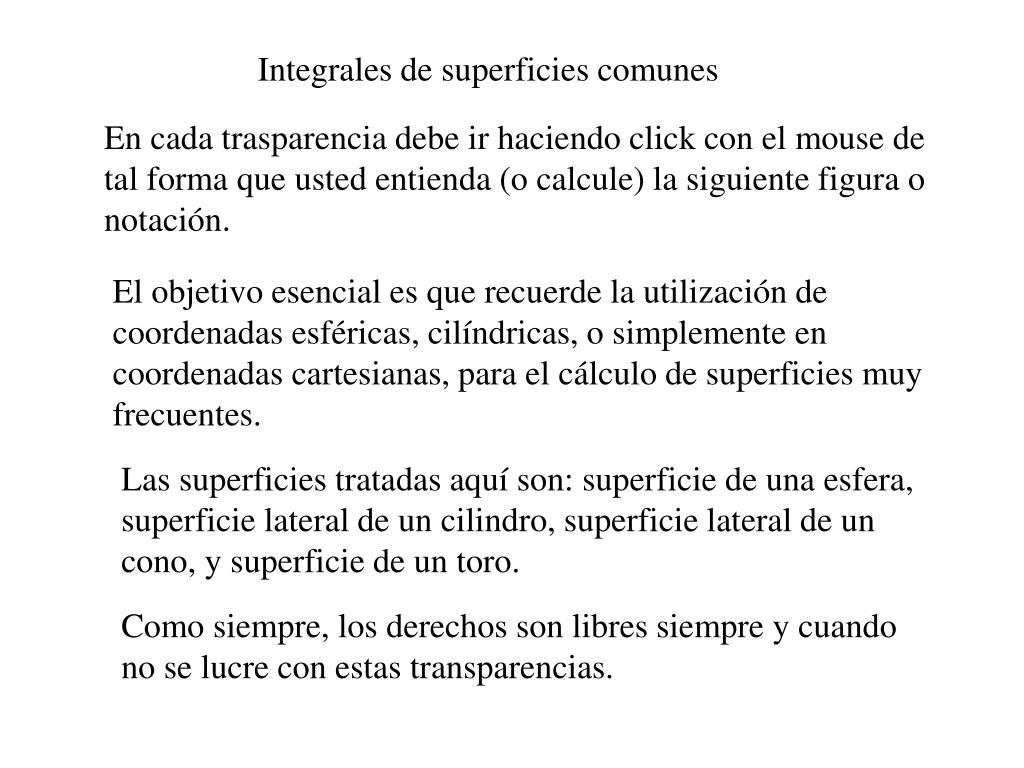 Integrales de superficies comunes