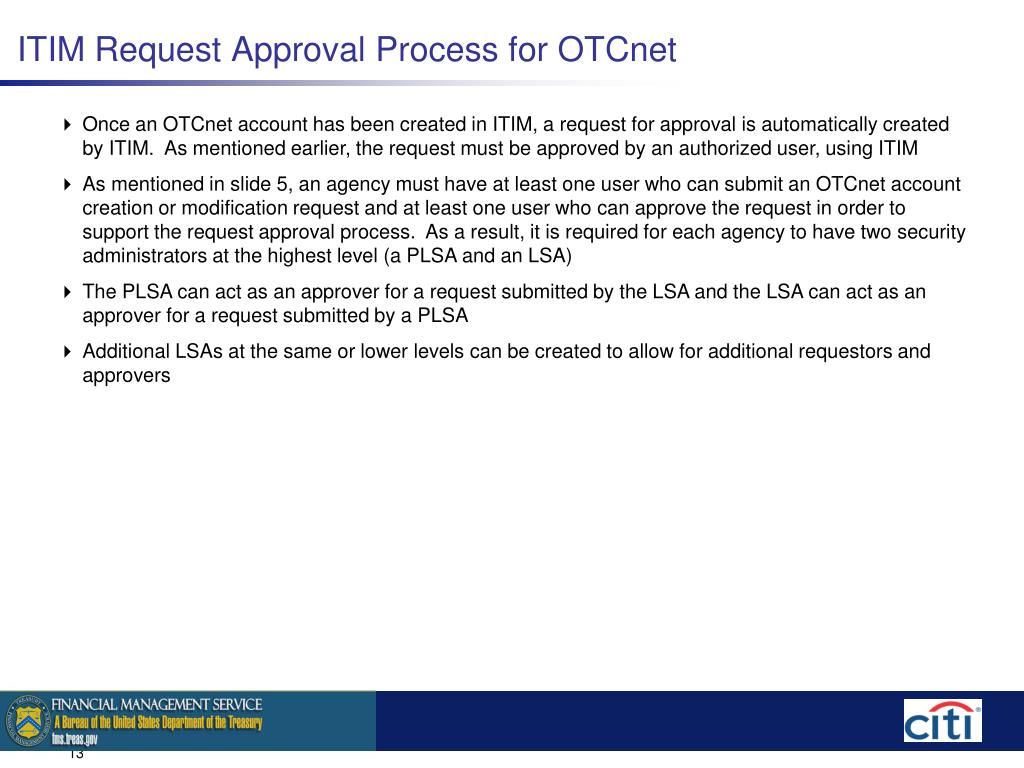 ITIM Request Approval Process for OTCnet