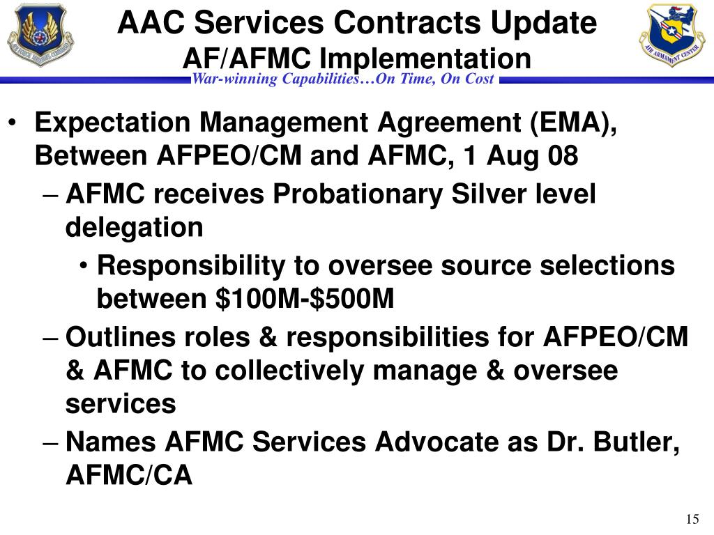 AAC Services Contracts Update