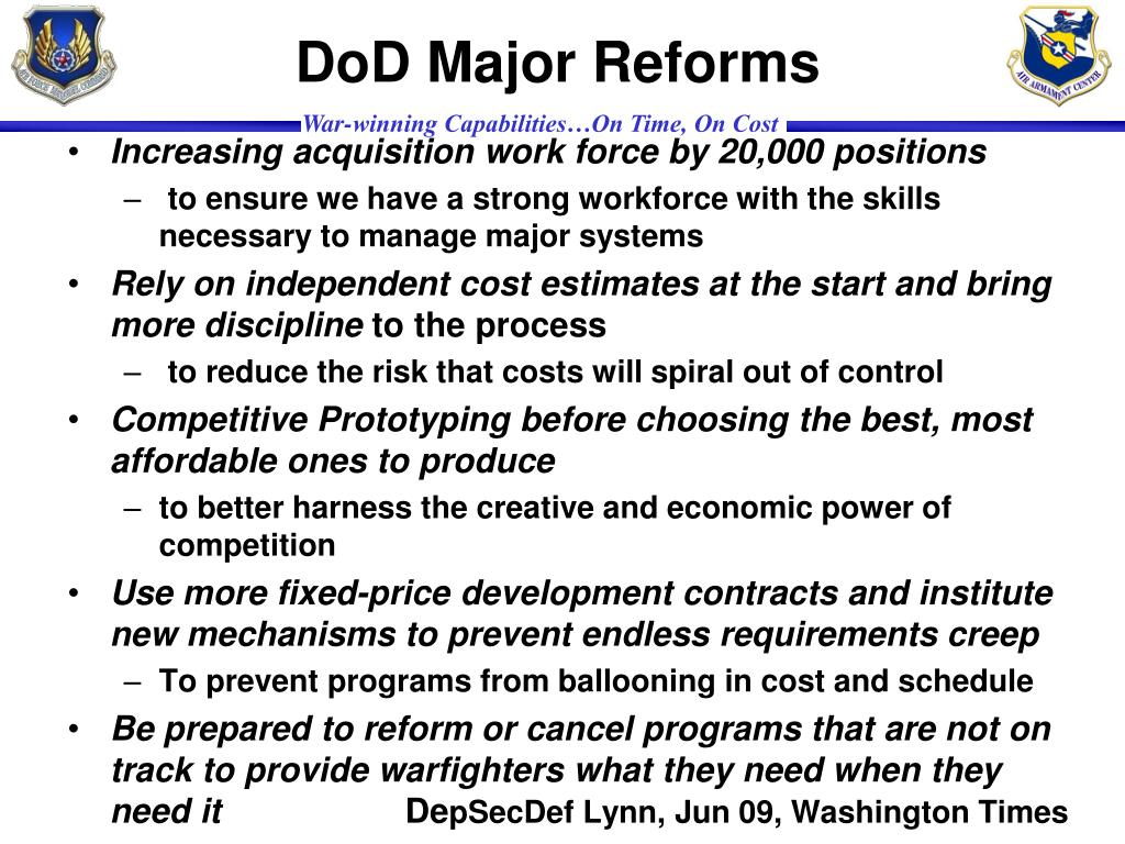 DoD Major Reforms