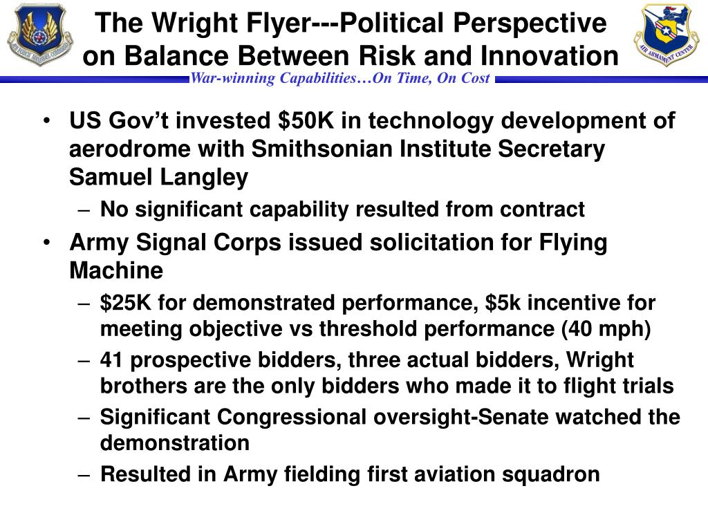 The Wright Flyer---Political Perspective on Balance Between Risk and Innovation
