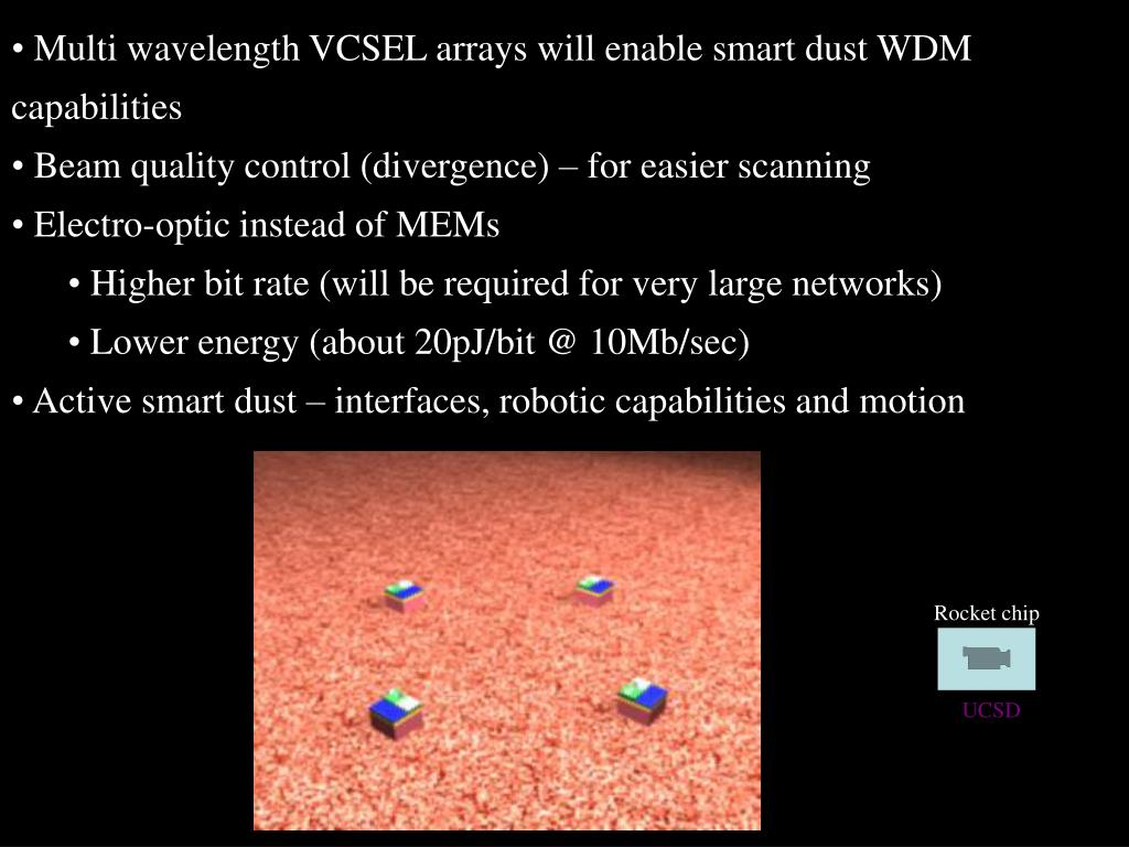 Multi wavelength VCSEL arrays will enable smart dust WDM capabilities