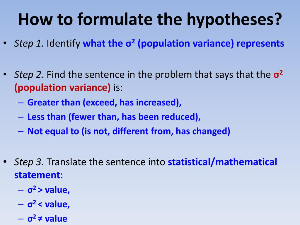 How to formulate the hypotheses?