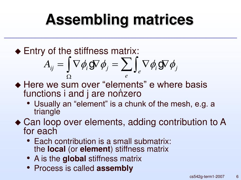 Assembling matrices