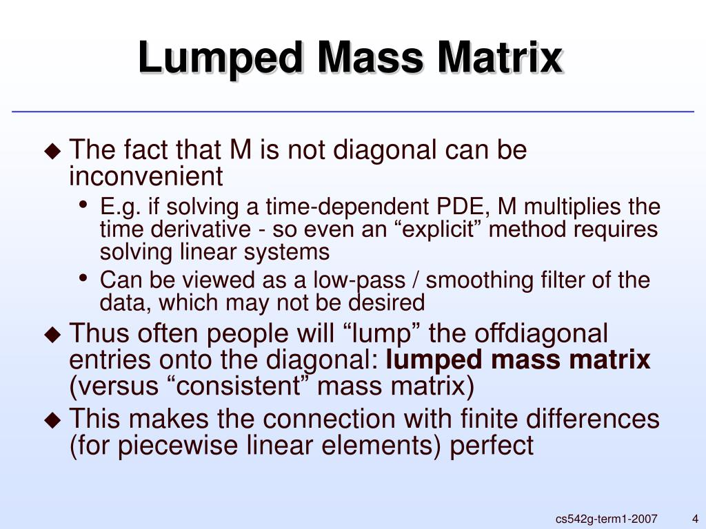 Lumped Mass Matrix