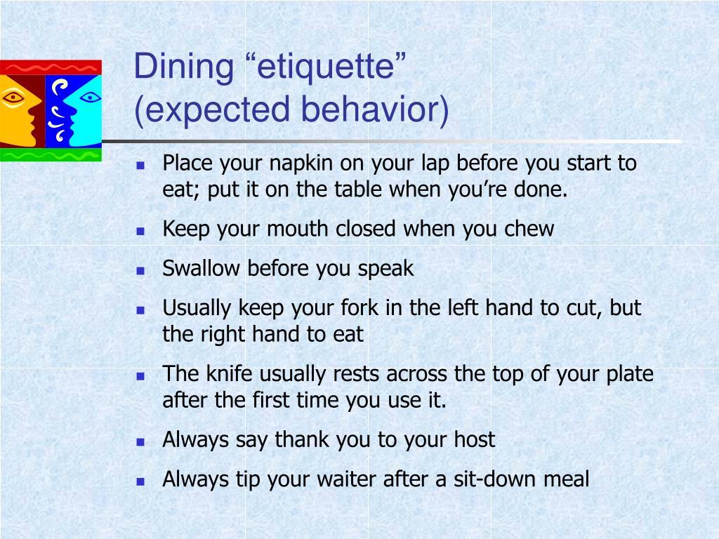 """Dining """"etiquette"""""""