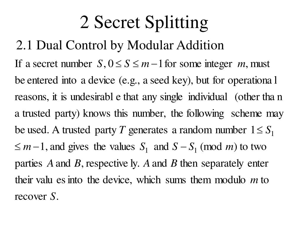 2 Secret Splitting