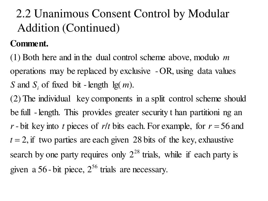 2.2 Unanimous Consent Control by Modular Addition