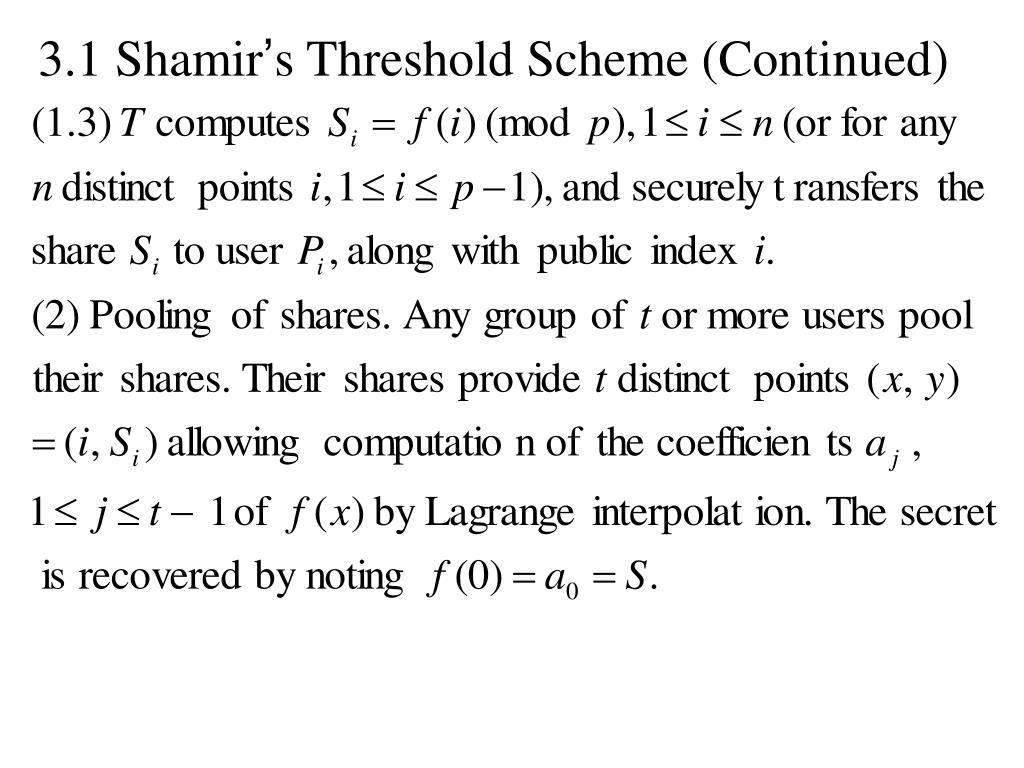 3.1 Shamir