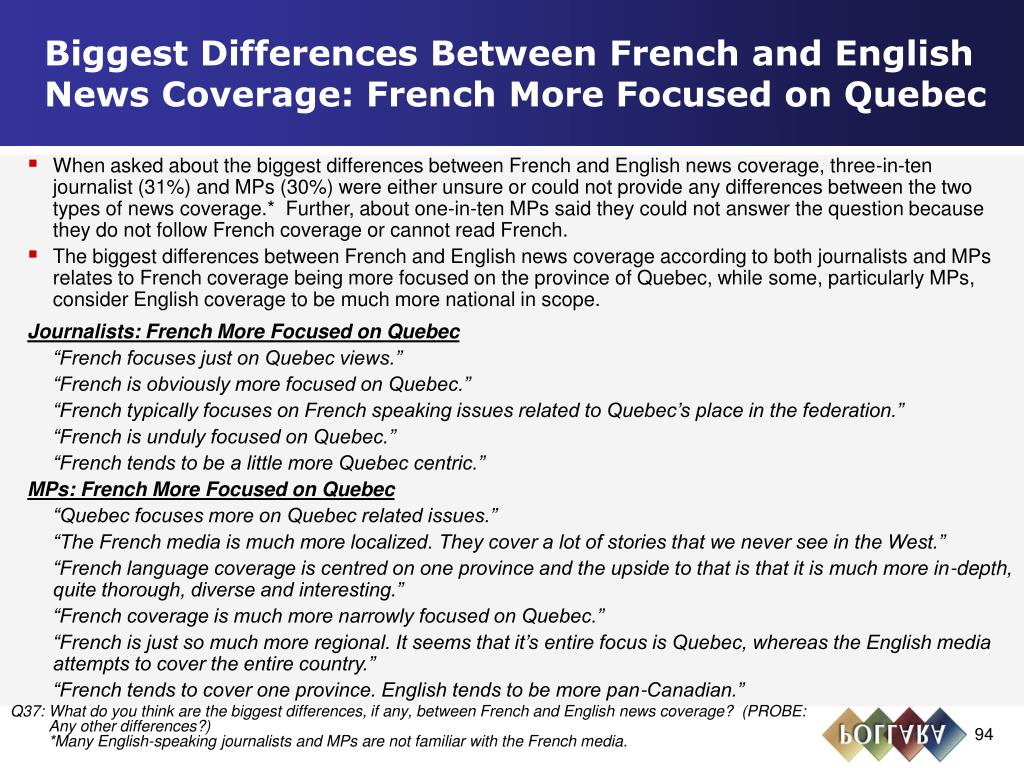 Biggest Differences Between French and English News Coverage: French More Focused on Quebec