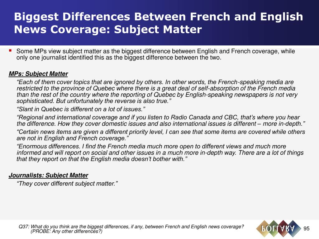 Biggest Differences Between French and English News Coverage: Subject Matter