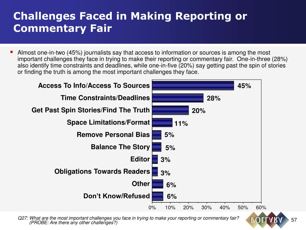Challenges Faced in Making Reporting or Commentary Fair