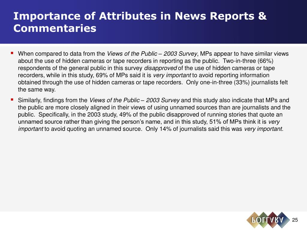 Importance of Attributes in News Reports & Commentaries