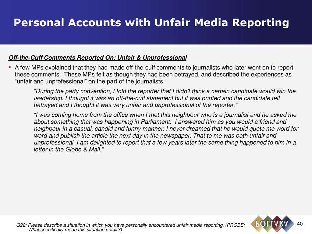 Personal Accounts with Unfair Media Reporting