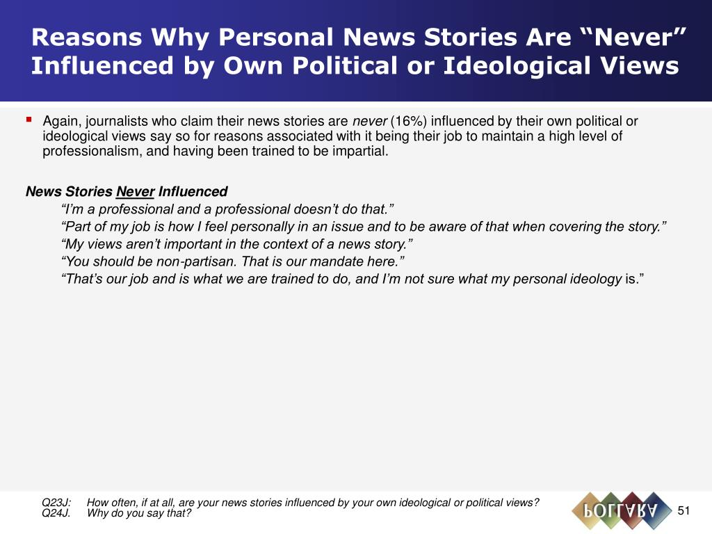 """Reasons Why Personal News Stories Are """"Never"""" Influenced by Own Political or Ideological Views"""