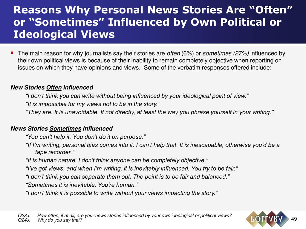 """Reasons Why Personal News Stories Are """"Often"""" or """"Sometimes"""" Influenced by Own Political or Ideological Views"""