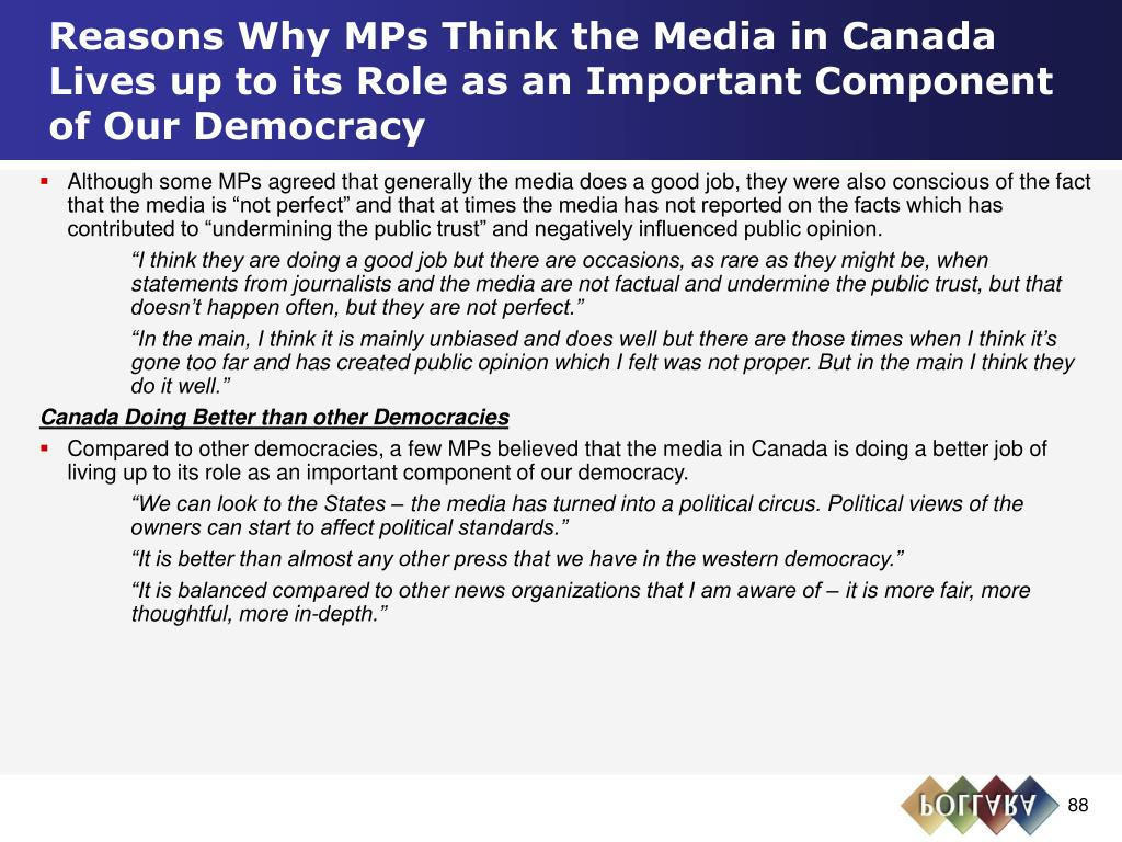 Reasons Why MPs Think the Media in Canada Lives up