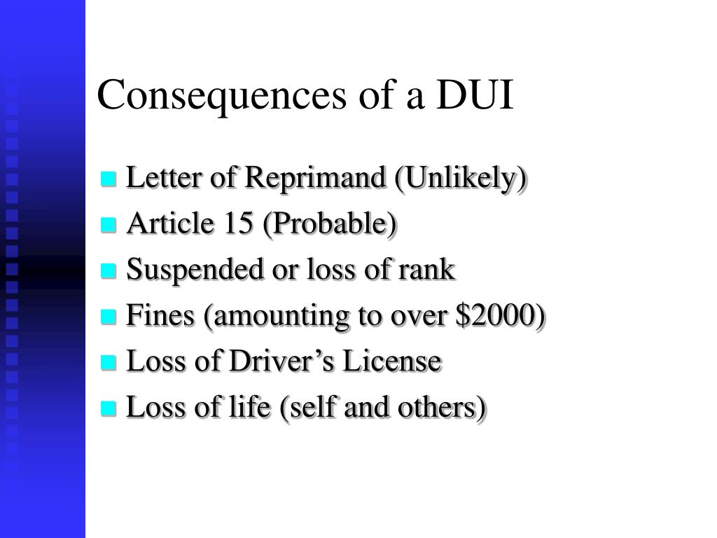 Consequences of a DUI