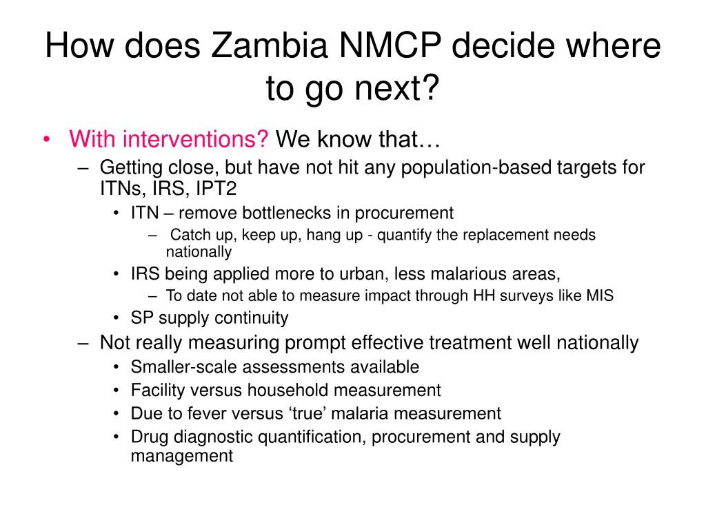 How does Zambia NMCP decide where to go next?