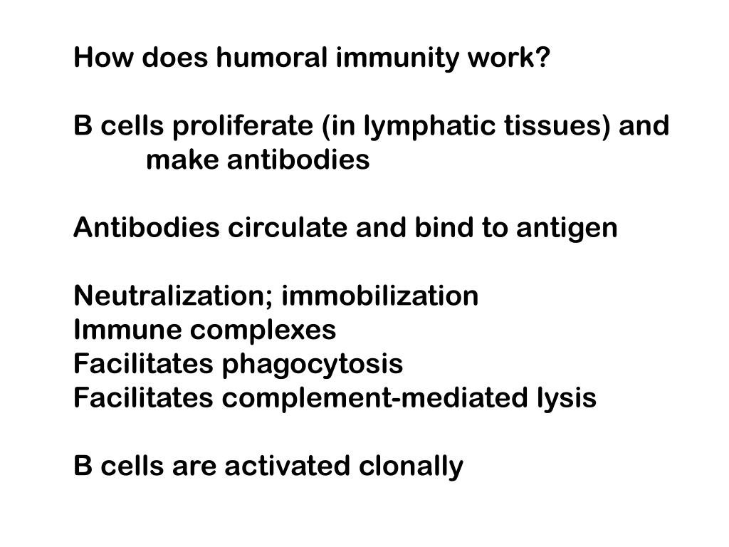 How does humoral immunity work?