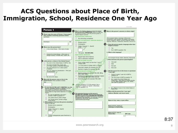 ACS Questions about Place of Birth, Immigration, School, Residence One Year Ago