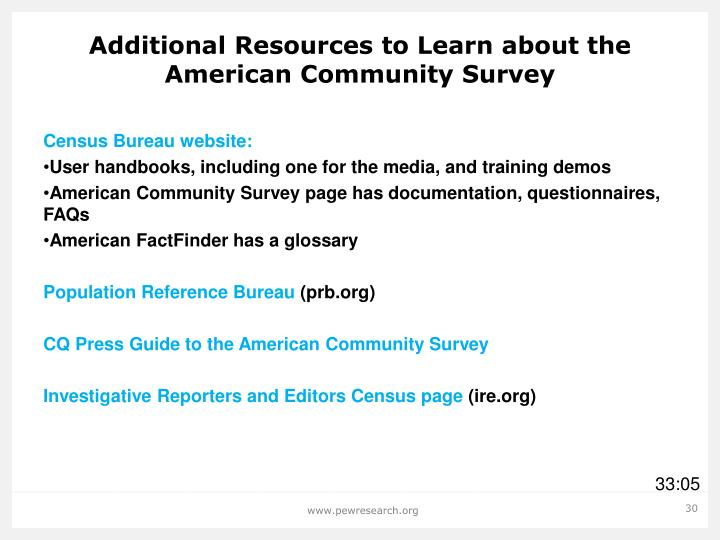 Additional Resources to Learn about the American Community Survey
