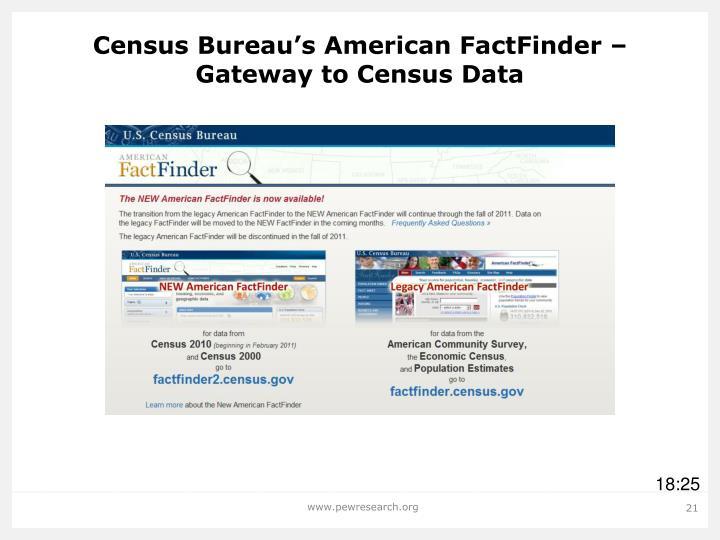 Census Bureau's American FactFinder – Gateway to Census Data
