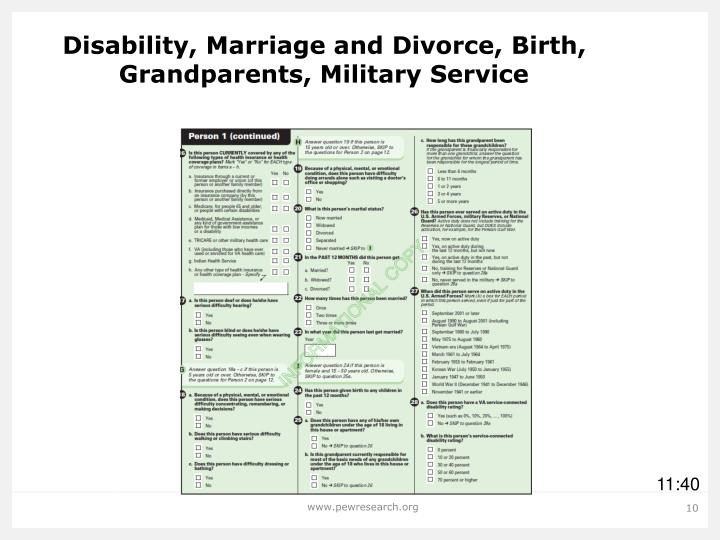 Disability, Marriage and Divorce, Birth, Grandparents, Military Service