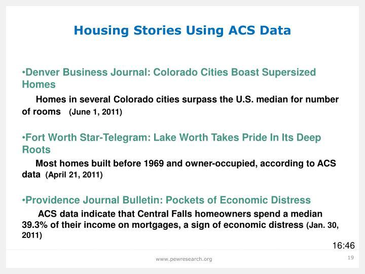 Housing Stories Using ACS Data