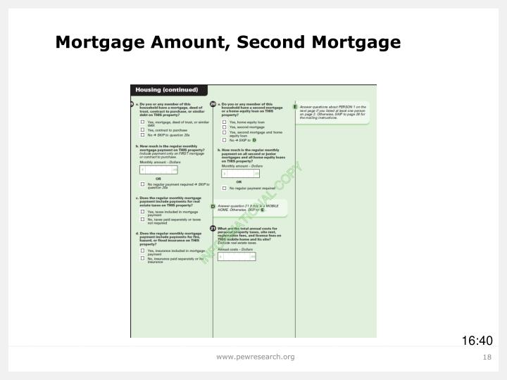 Mortgage Amount, Second Mortgage