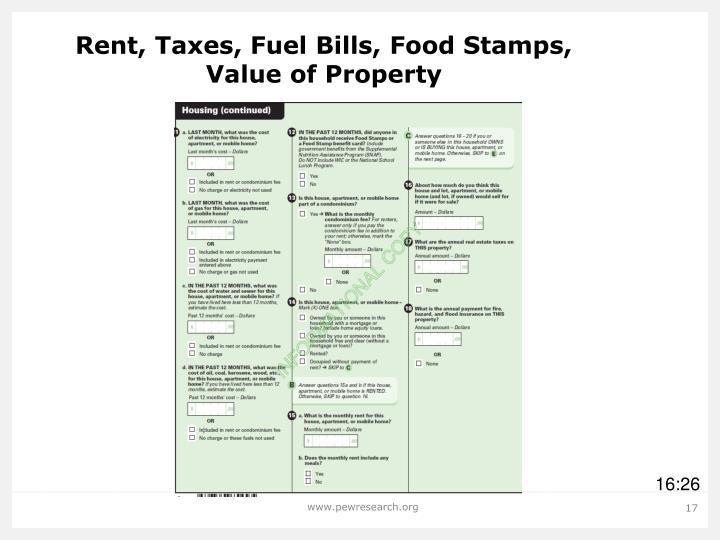 Rent, Taxes, Fuel Bills, Food Stamps,